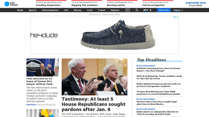 USA TODAY Landing Page