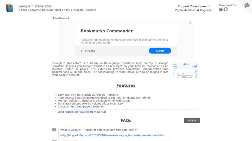 Google Translator Landing Page