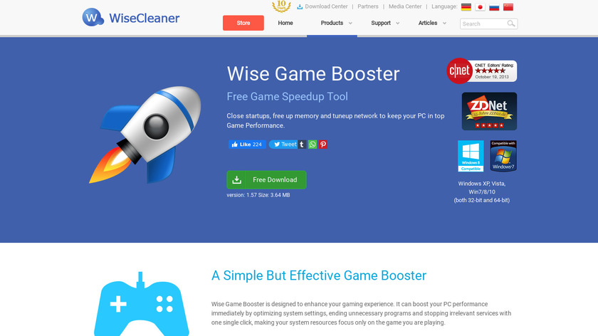 Wise Game Booster Landing Page