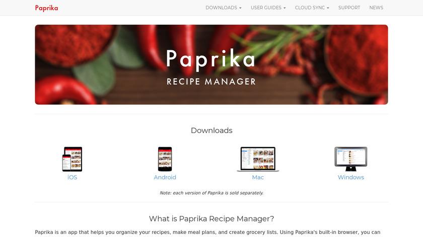Paprika Recipe Manager Landing Page