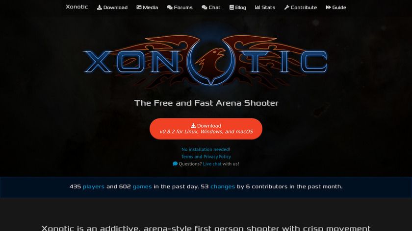 Xonotic Landing Page