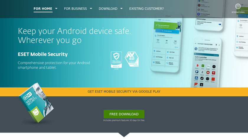 ESET Mobile Security Landing Page
