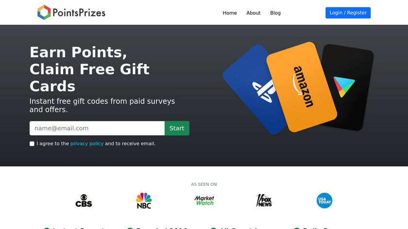 PointsPrizes Landing Page