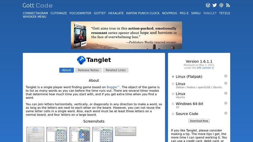 Tanglet Landing Page