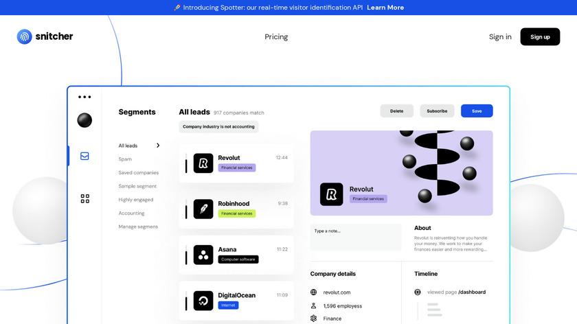 Snitcher Landing Page