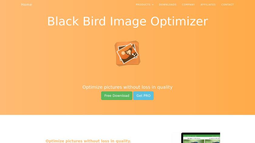 Black Bird Image Optimizer Landing Page