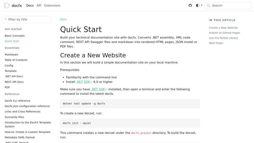 DocFX Landing Page