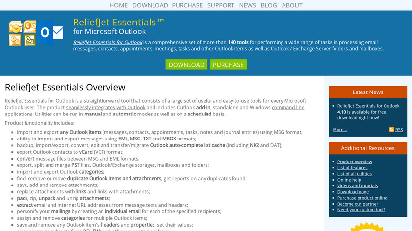 ReliefJet Essentials for Outlook Landing Page