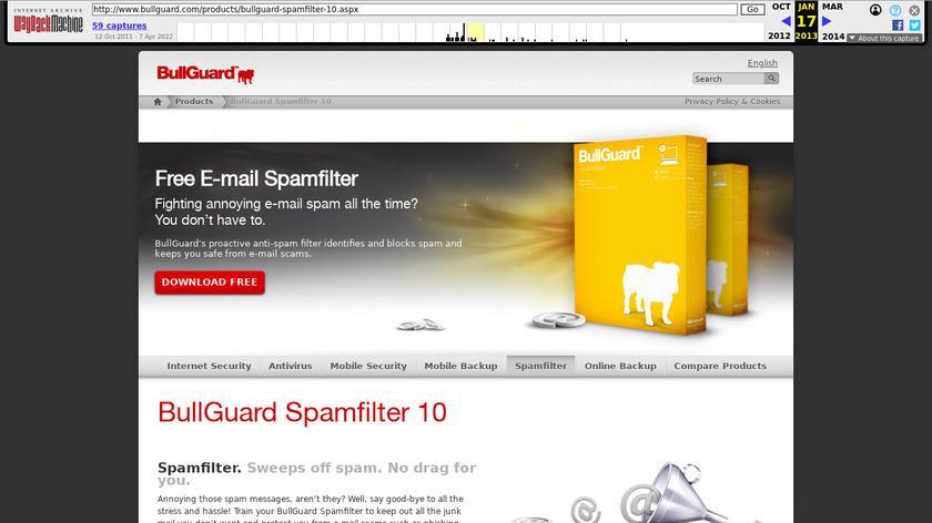BullGuard Spamfilter Landing Page