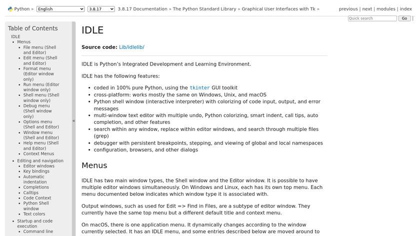 IDLE Landing Page