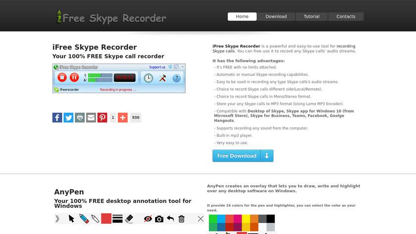 iFree Skype Recorder Landing Page