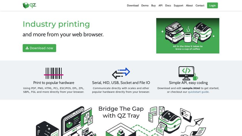 QZ Tray Landing Page
