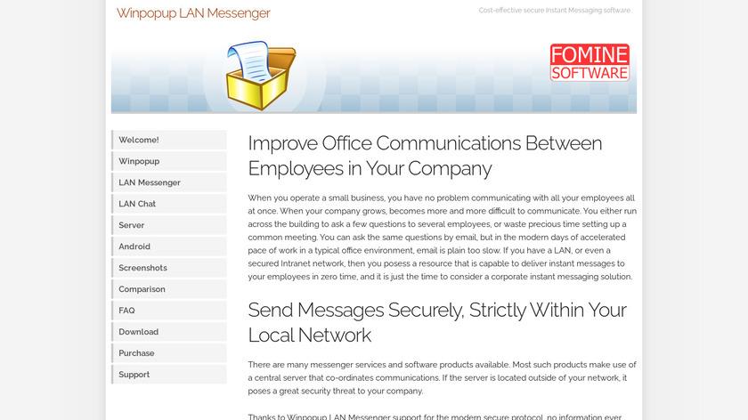 Winpopup LAN Messenger Landing Page