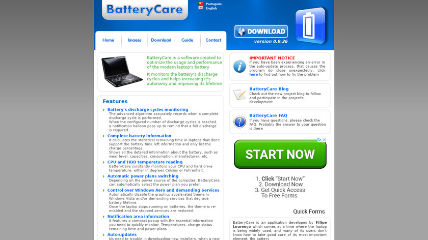 BatteryCare Landing Page