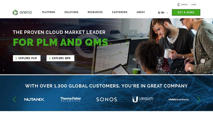 Arena PLM Landing Page