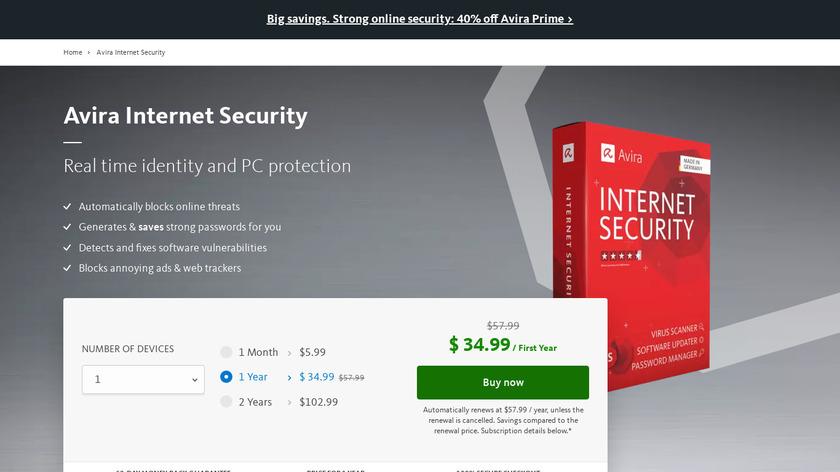 Avira Internet Security Landing Page