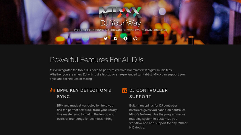 Mixxx Landing Page