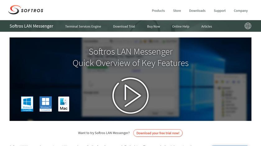 Softros LAN messenger Landing Page