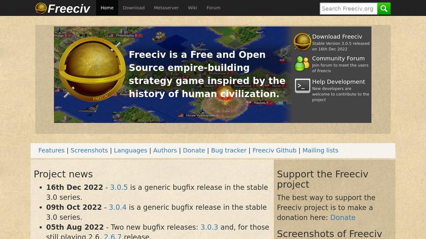 FreeCiv Landing Page