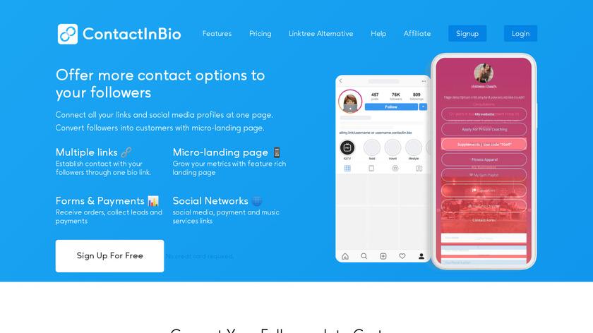 ContactInBio Landing Page