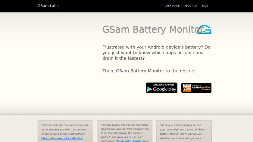 GSam Battery Monitor Landing Page