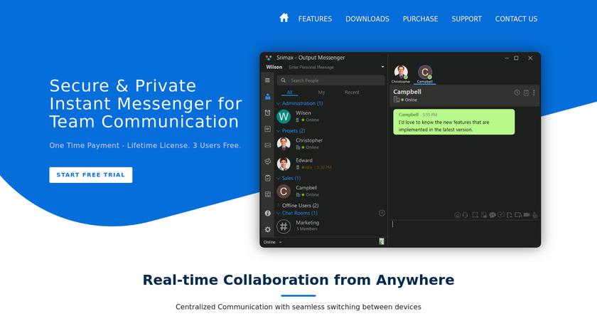 Output Messenger Landing Page