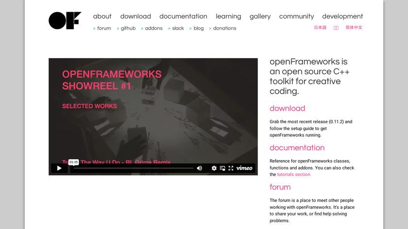 OpenFrameworks Landing Page