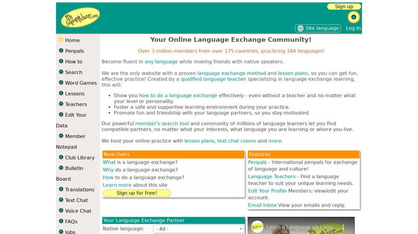 My Language Exchange Landing Page