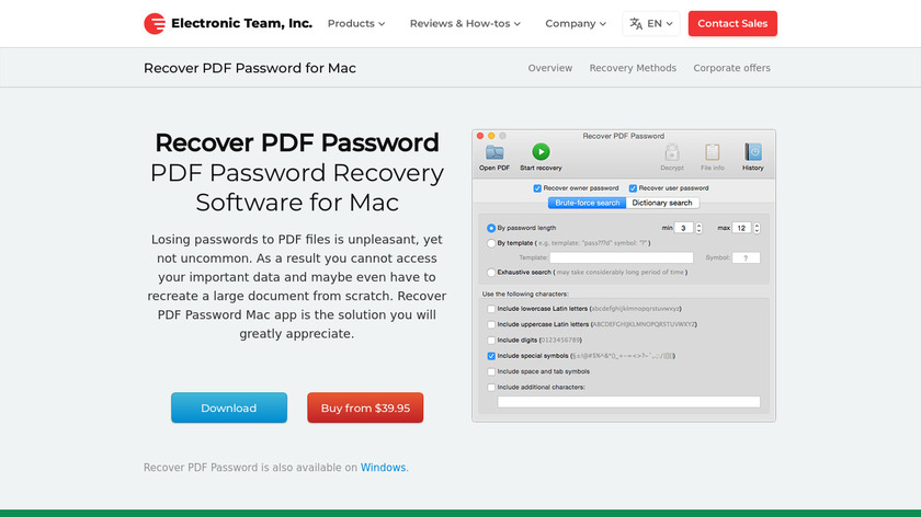 Recover PDF Password Landing Page