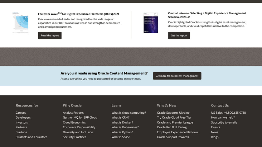 Oracle WebCenter Content Landing Page