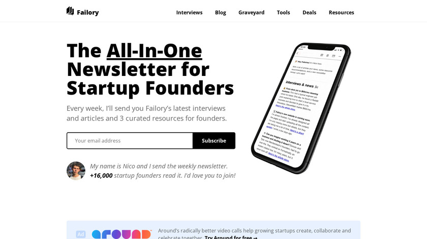Failory Landing Page