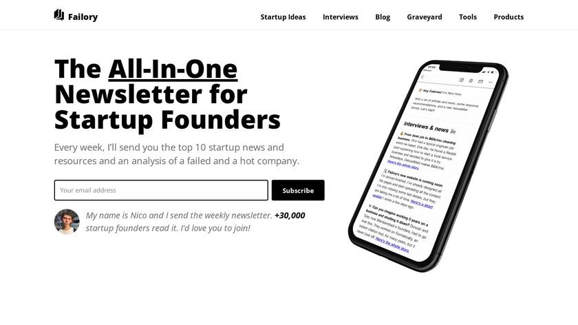 Failory Landing Page