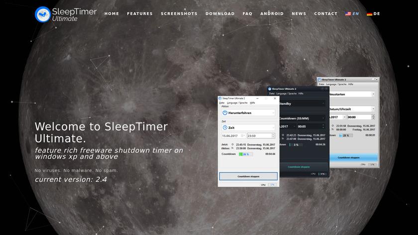 SleepTimer Ultimate Landing Page