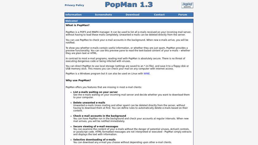 PopMan Landing Page