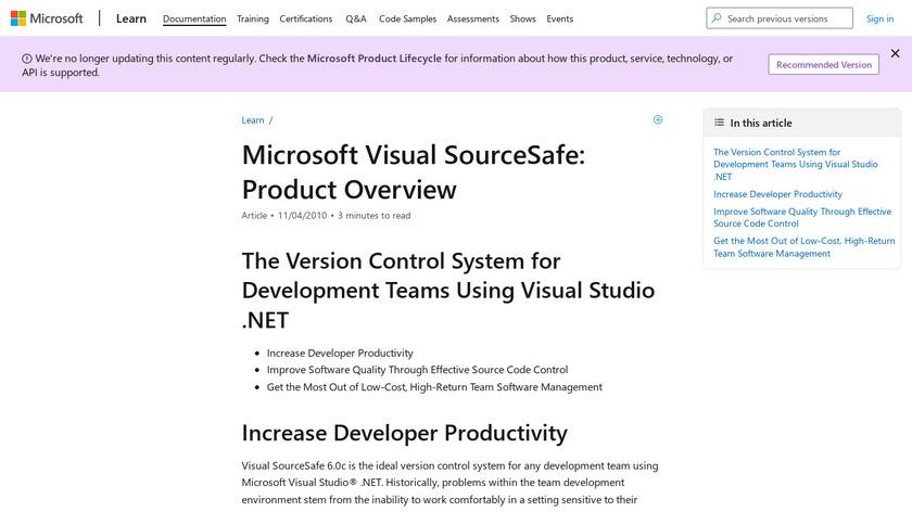 Microsoft Visual SourceSafe Landing Page