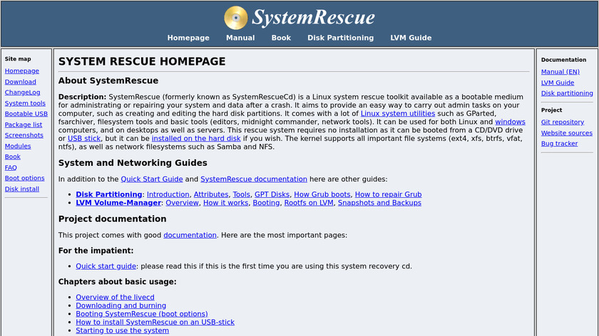 SystemRescueCd Landing Page