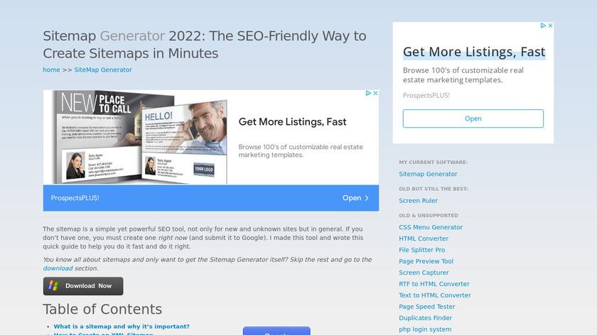 WonderWebWare Sitemap Generator Landing Page