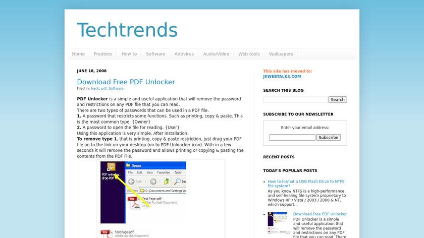 Freeware PDF Unlocker Landing Page