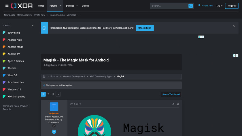 Magisk Landing Page