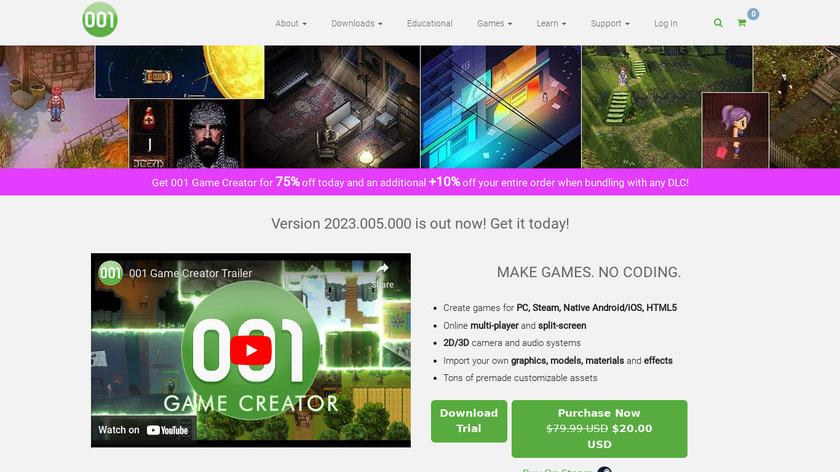 001 Game Creator Landing Page