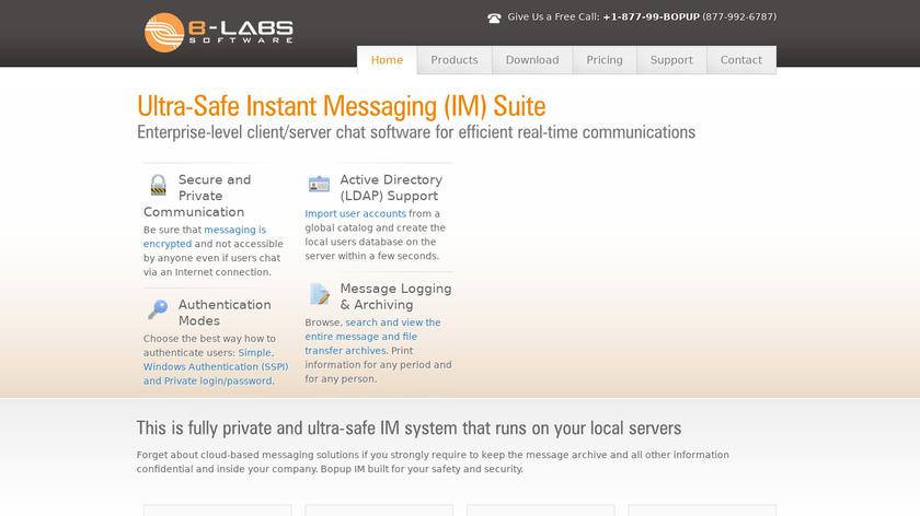 Bopup IM Suite Landing Page