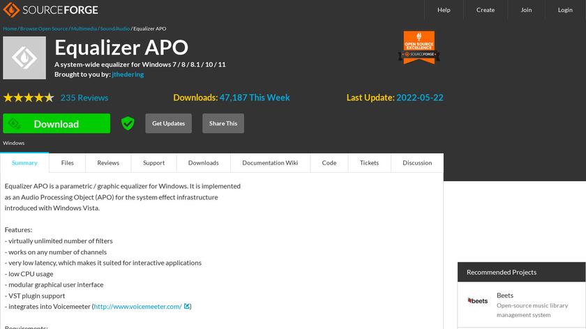 Equalizer APO Landing Page