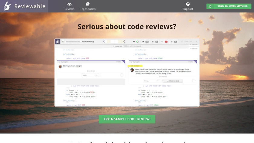 Reviewable Landing Page