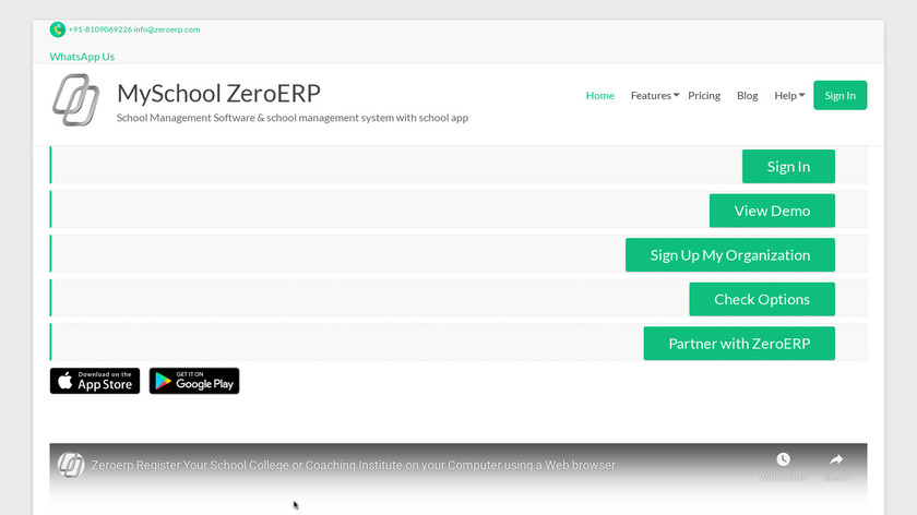 ZeroERP Education Landing Page