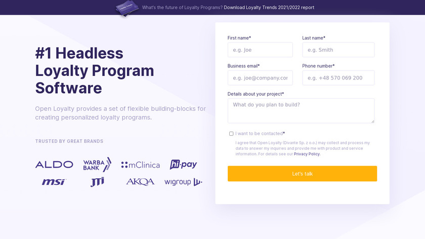 Open Loyalty Landing Page