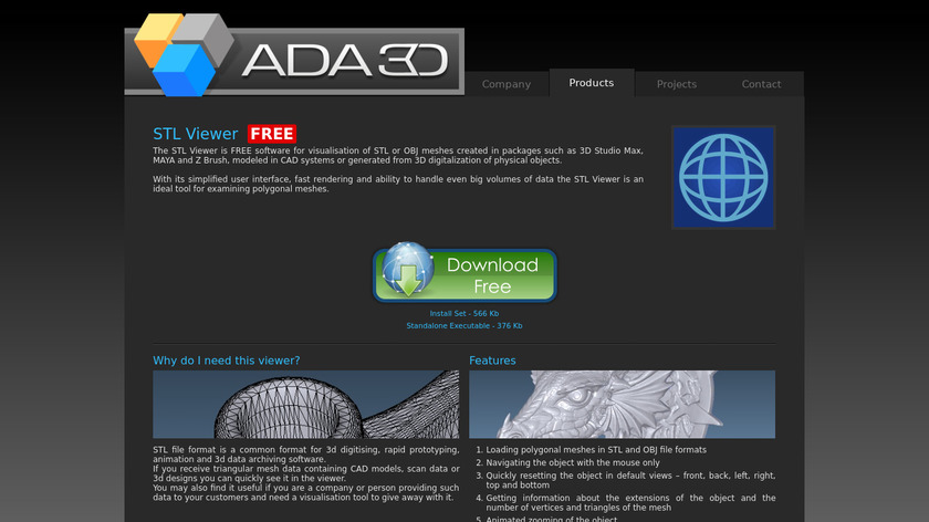 ADA STL Viewer Landing Page