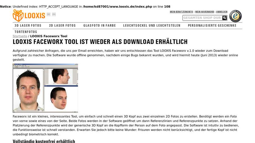 3D Faceworx Landing Page