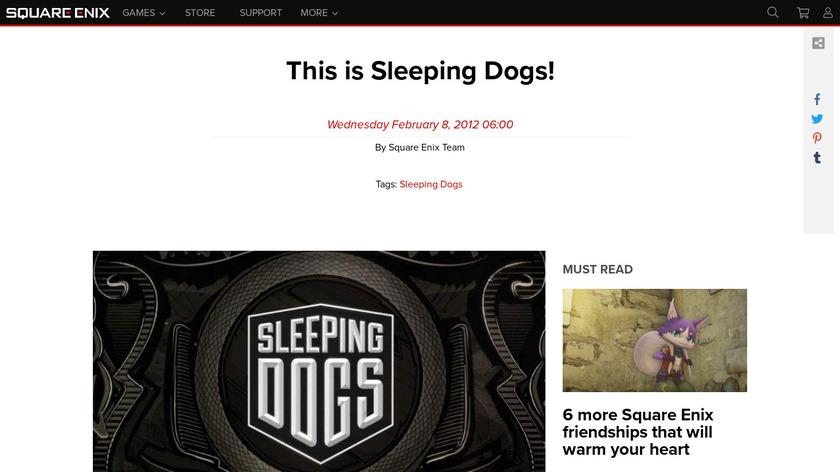 Sleeping Dogs Landing Page