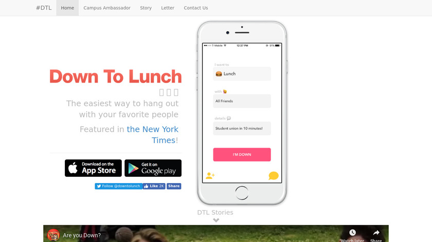 Down To Lunch Landing Page