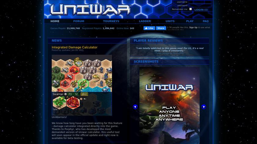 UniWar Landing Page